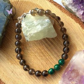 Men's Smokey Quartz & Malachite Healing Bracelet